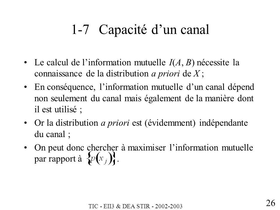 TIC - EII3 & DEA STIR - 2002-2003 26 1-7Capacité dun canal Le calcul de linformation mutuelle I(A, B) nécessite la connaissance de la distribution a p