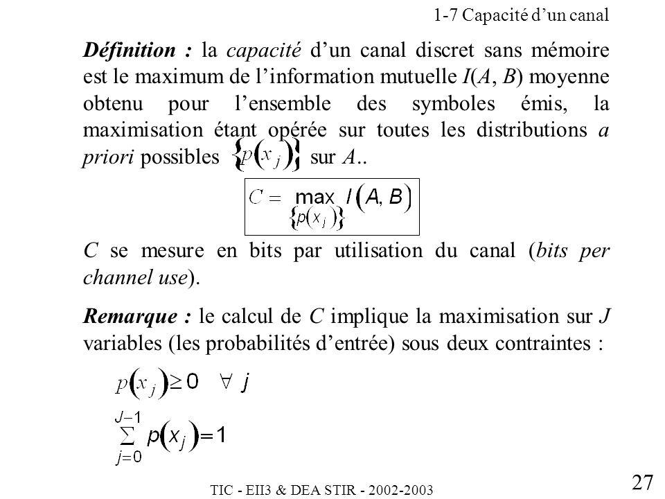 TIC - EII3 & DEA STIR - 2002-2003 27 Définition : la capacité dun canal discret sans mémoire est le maximum de linformation mutuelle I(A, B) moyenne o