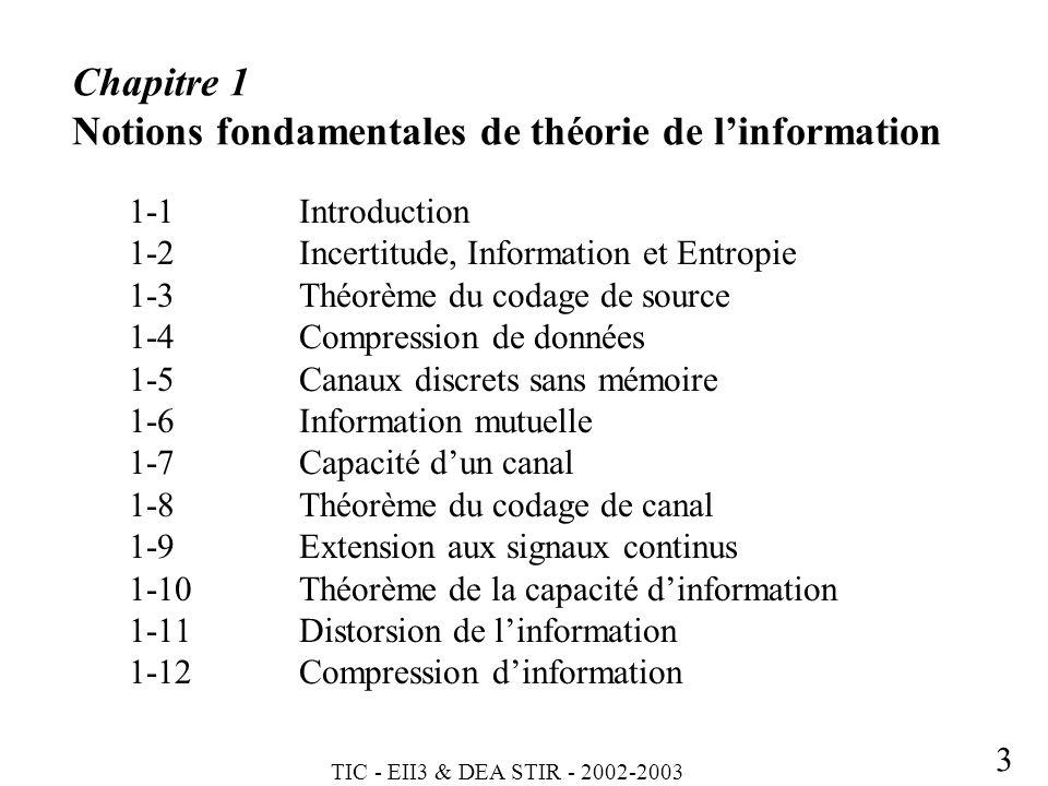 TIC - EII3 & DEA STIR - 2002-2003 3 Chapitre 1 Notions fondamentales de théorie de linformation 1-1Introduction 1-2Incertitude, Information et Entropi