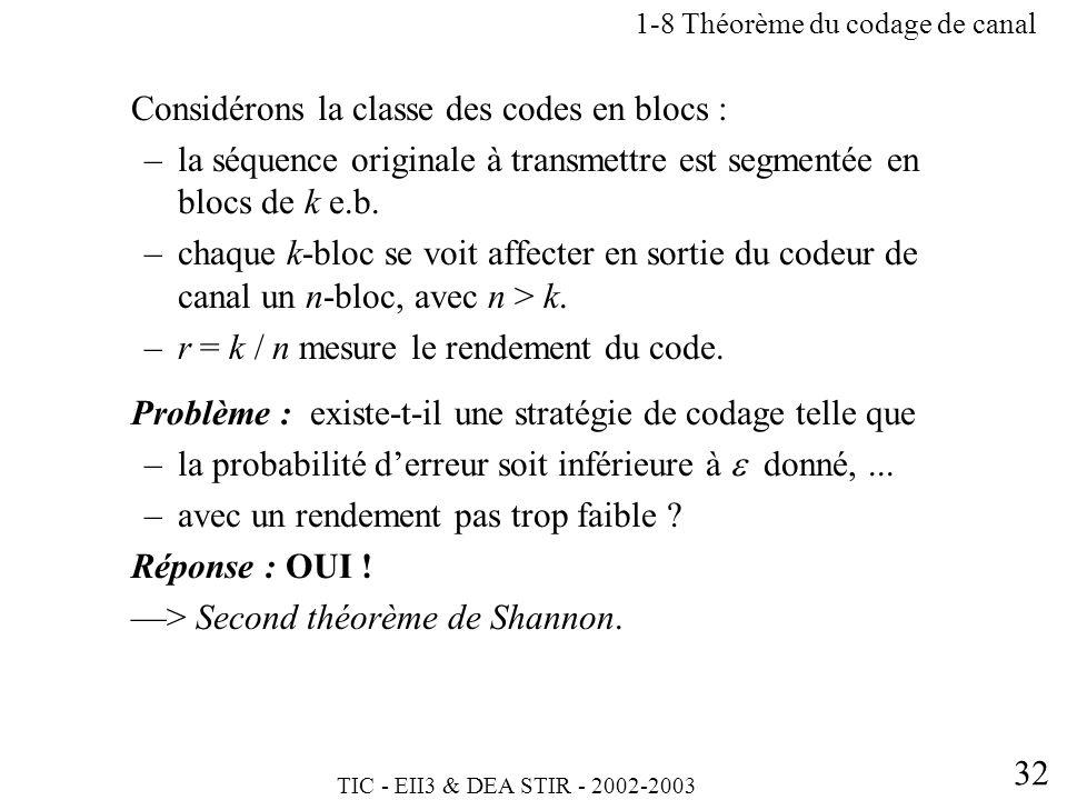 TIC - EII3 & DEA STIR - 2002-2003 32 Considérons la classe des codes en blocs : –la séquence originale à transmettre est segmentée en blocs de k e.b.