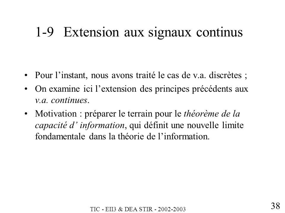 TIC - EII3 & DEA STIR - 2002-2003 38 Pour linstant, nous avons traité le cas de v.a. discrètes ; On examine ici lextension des principes précédents au