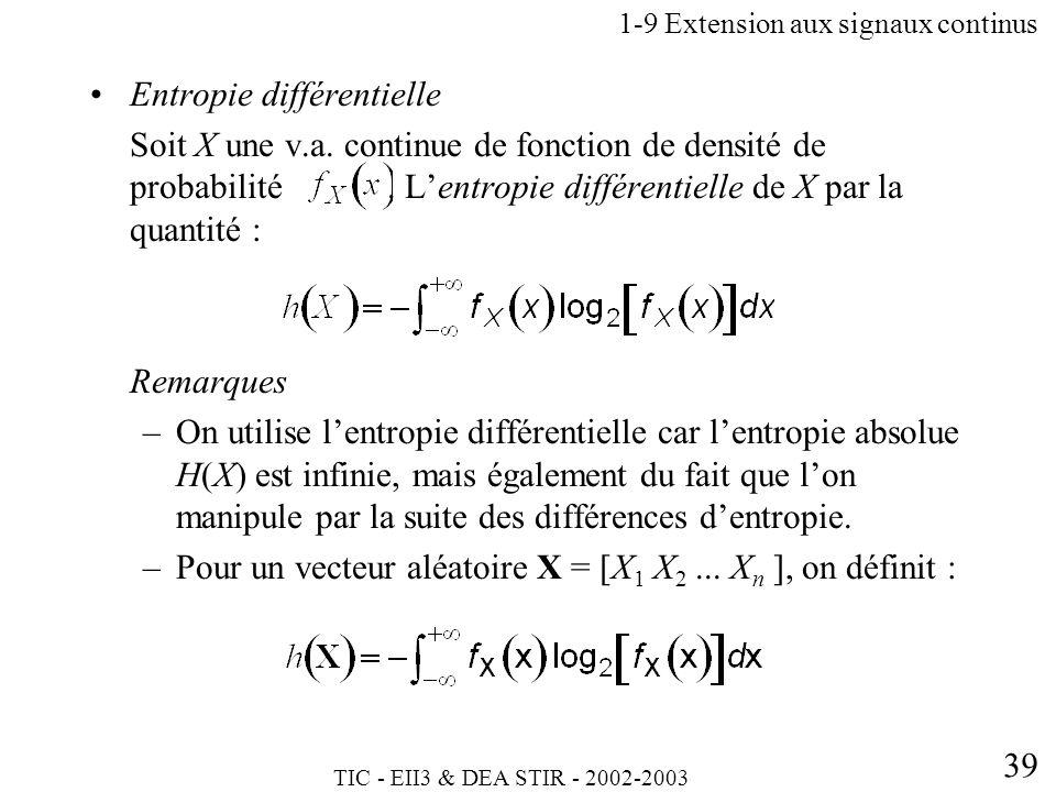 TIC - EII3 & DEA STIR - 2002-2003 39 Entropie différentielle Soit X une v.a. continue de fonction de densité de probabilité. Lentropie différentielle