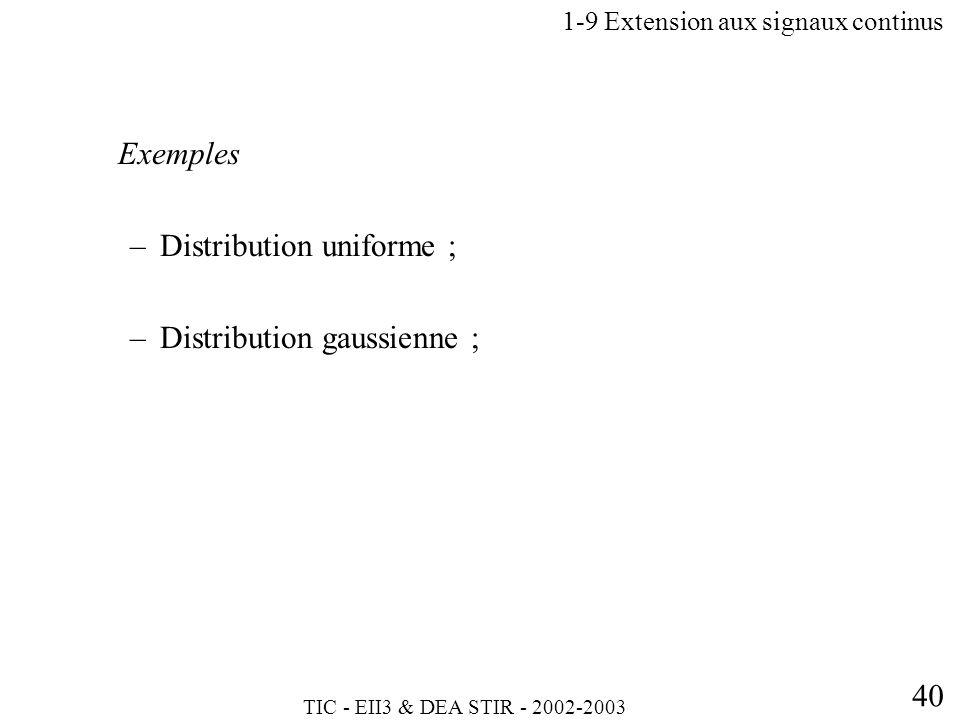 TIC - EII3 & DEA STIR - 2002-2003 40 Exemples –Distribution uniforme ; –Distribution gaussienne ; 1-9 Extension aux signaux continus
