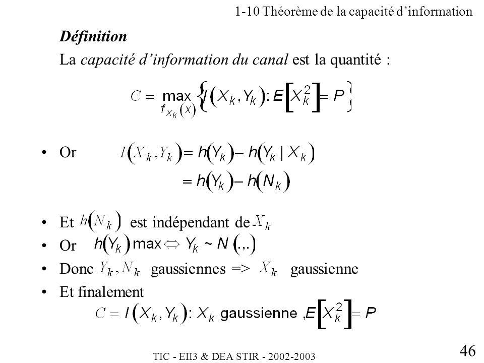 TIC - EII3 & DEA STIR - 2002-2003 46 Définition La capacité dinformation du canal est la quantité : Or Et est indépendant de Or Donc gaussiennes => ga
