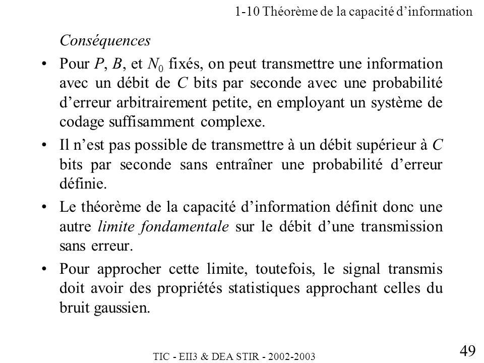 TIC - EII3 & DEA STIR - 2002-2003 49 Conséquences Pour P, B, et N 0 fixés, on peut transmettre une information avec un débit de C bits par seconde ave