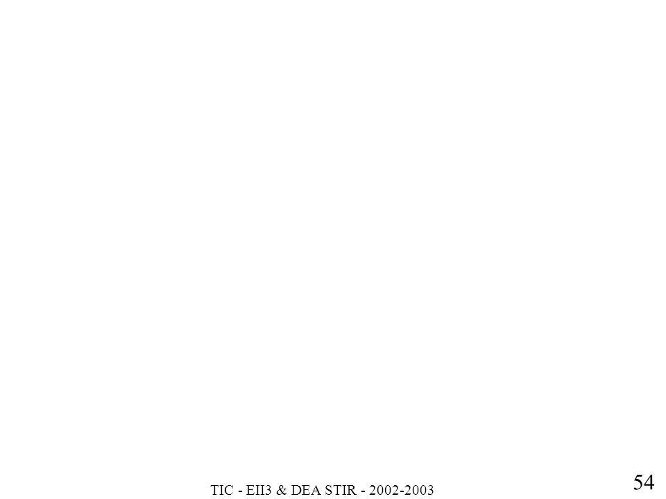 TIC - EII3 & DEA STIR - 2002-2003 54