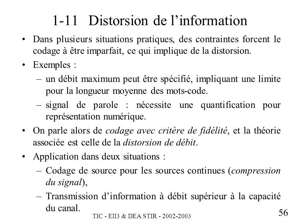 TIC - EII3 & DEA STIR - 2002-2003 56 1-11 Distorsion de linformation Dans plusieurs situations pratiques, des contraintes forcent le codage à être imp