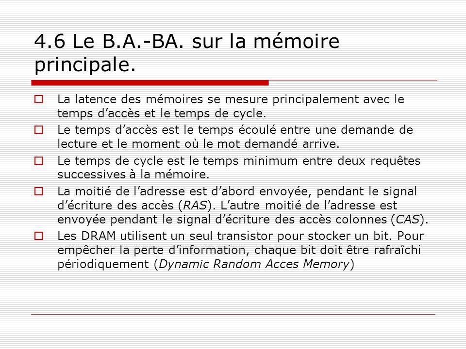 4.6 Le B.A.-BA. sur la mémoire principale. La latence des mémoires se mesure principalement avec le temps daccès et le temps de cycle. Le temps daccès