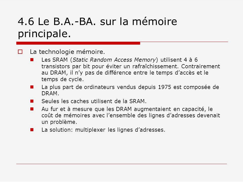 4.6 Le B.A.-BA. sur la mémoire principale. La technologie mémoire. Les SRAM (Static Random Access Memory) utilisent 4 à 6 transistors par bit pour évi