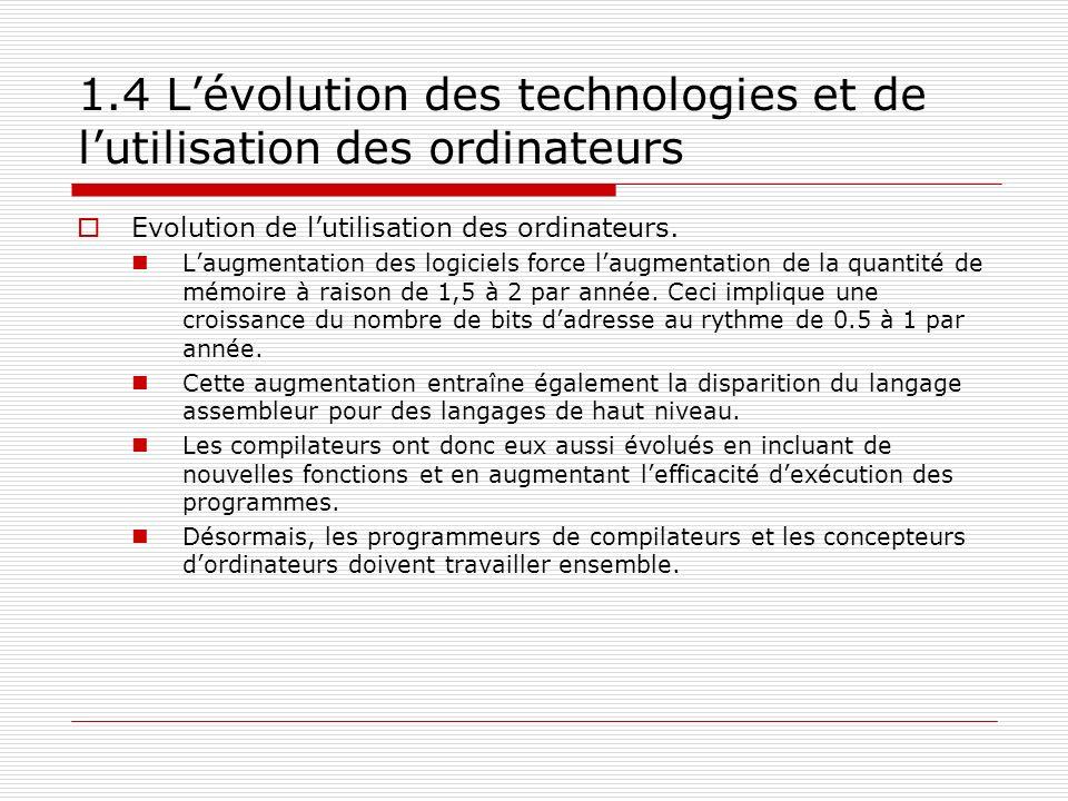 1.4 Lévolution des technologies et de lutilisation des ordinateurs Evolution de lutilisation des ordinateurs. Laugmentation des logiciels force laugme