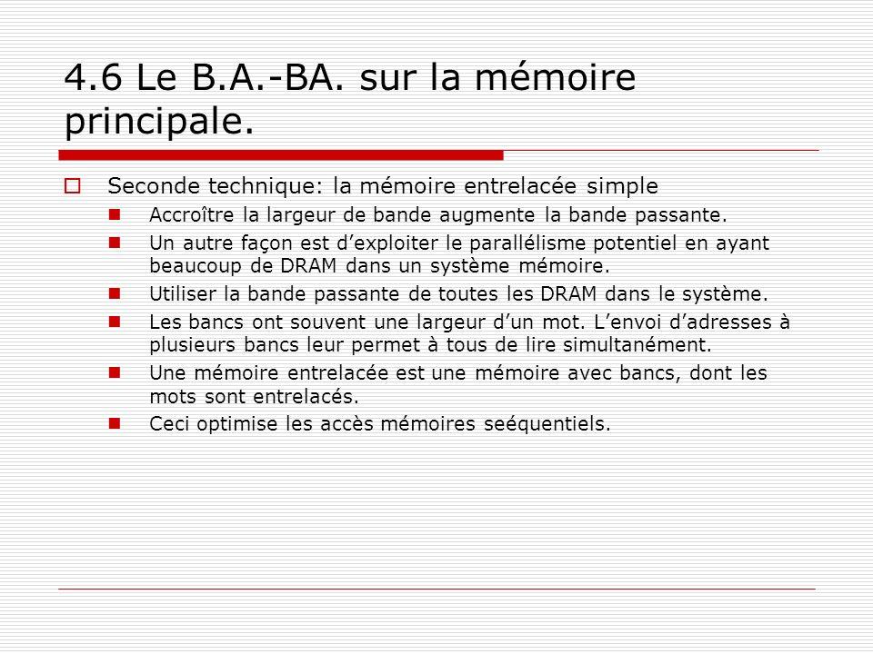4.6 Le B.A.-BA. sur la mémoire principale. Seconde technique: la mémoire entrelacée simple Accroître la largeur de bande augmente la bande passante. U