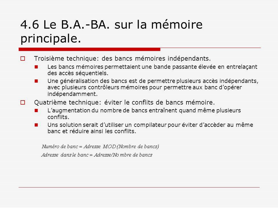 4.6 Le B.A.-BA. sur la mémoire principale. Troisième technique: des bancs mémoires indépendants. Les bancs mémoires permettaient une bande passante él