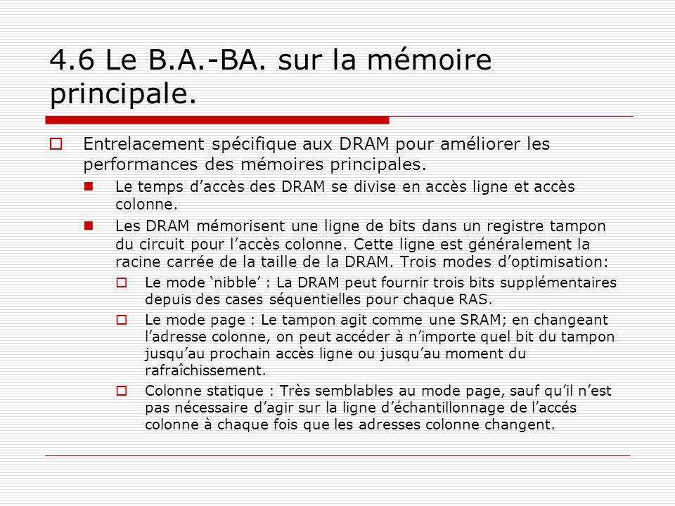 4.6 Le B.A.-BA. sur la mémoire principale. Entrelacement spécifique aux DRAM pour améliorer les performances des mémoires principales. Le temps daccès