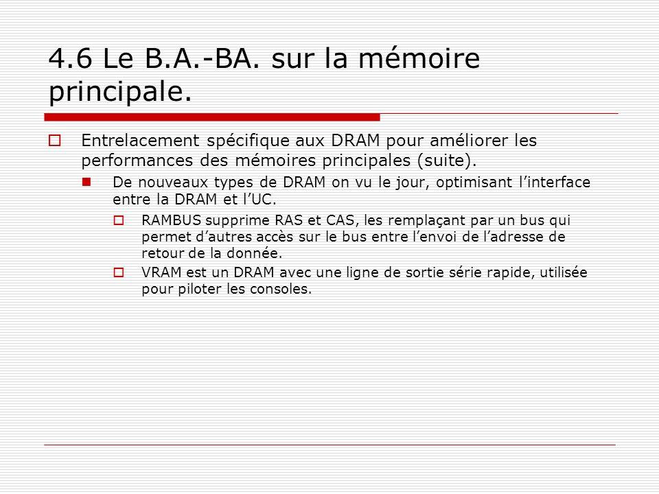 4.6 Le B.A.-BA. sur la mémoire principale. Entrelacement spécifique aux DRAM pour améliorer les performances des mémoires principales (suite). De nouv