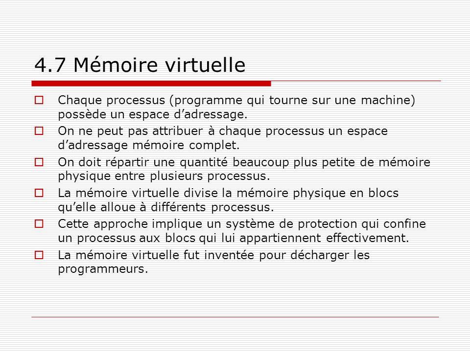 4.7 Mémoire virtuelle Chaque processus (programme qui tourne sur une machine) possède un espace dadressage. On ne peut pas attribuer à chaque processu