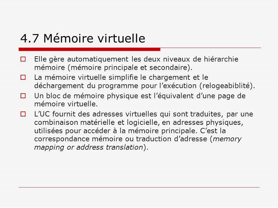 4.7 Mémoire virtuelle Elle gère automatiquement les deux niveaux de hiérarchie mémoire (mémoire principale et secondaire). La mémoire virtuelle simpli