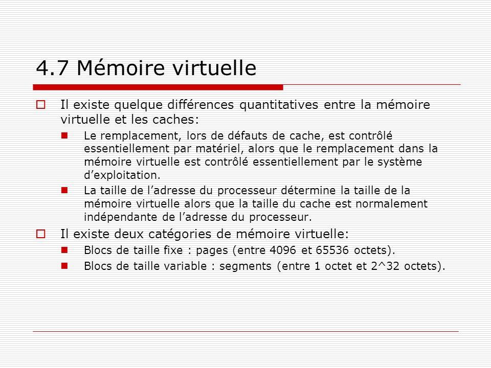 Il existe quelque différences quantitatives entre la mémoire virtuelle et les caches: Le remplacement, lors de défauts de cache, est contrôlé essentie
