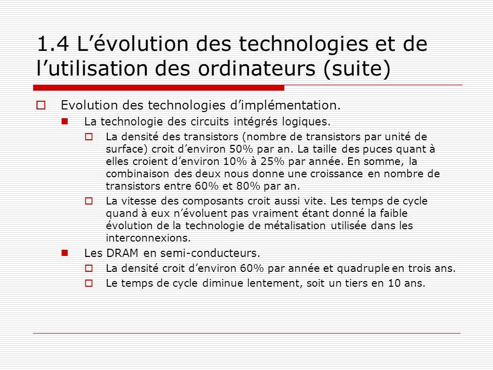 1.4 Lévolution des technologies et de lutilisation des ordinateurs (suite) Evolution des technologies dimplémentation. La technologie des circuits int