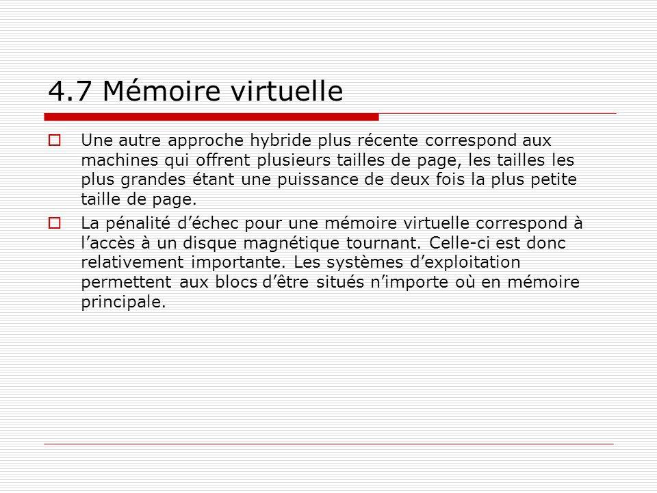 4.7 Mémoire virtuelle Une autre approche hybride plus récente correspond aux machines qui offrent plusieurs tailles de page, les tailles les plus gran