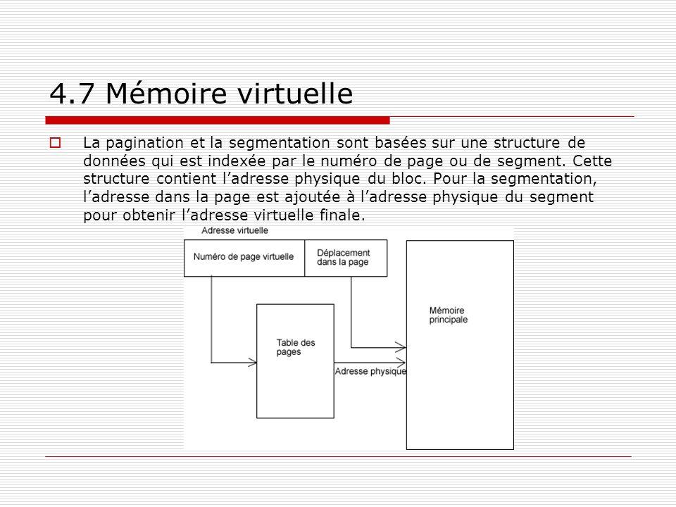 4.7 Mémoire virtuelle La pagination et la segmentation sont basées sur une structure de données qui est indexée par le numéro de page ou de segment. C