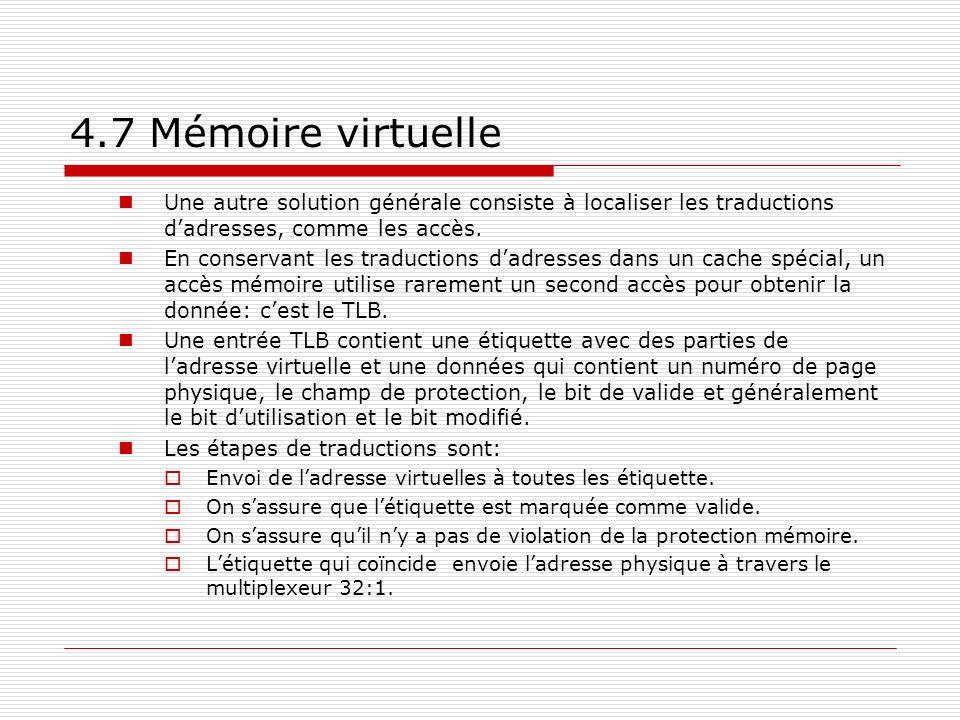 4.7 Mémoire virtuelle Une autre solution générale consiste à localiser les traductions dadresses, comme les accès. En conservant les traductions dadre