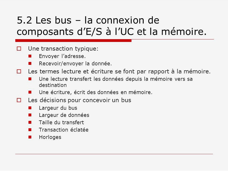 5.2 Les bus – la connexion de composants dE/S à lUC et la mémoire. Une transaction typique: Envoyer ladresse. Recevoir/envoyer la donnée. Les termes l