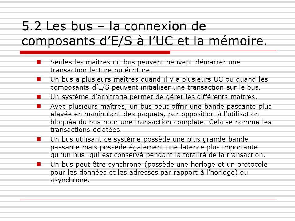 5.2 Les bus – la connexion de composants dE/S à lUC et la mémoire. Seules les maîtres du bus peuvent peuvent démarrer une transaction lecture ou écrit