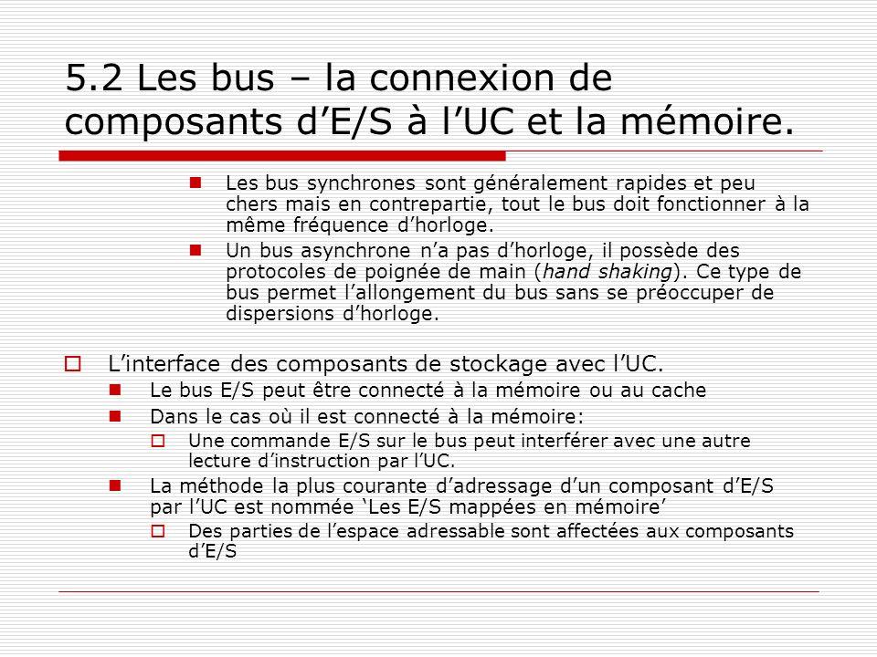 5.2 Les bus – la connexion de composants dE/S à lUC et la mémoire. Les bus synchrones sont généralement rapides et peu chers mais en contrepartie, tou