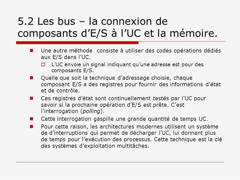 5.2 Les bus – la connexion de composants dE/S à lUC et la mémoire. Une autre méthode consiste à utiliser des codes opérations dédiés aux E/S dans lUC.