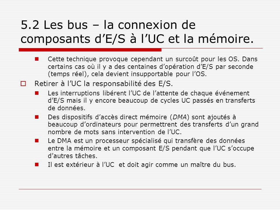 5.2 Les bus – la connexion de composants dE/S à lUC et la mémoire. Cette technique provoque cependant un surcoût pour les OS. Dans certains cas où il