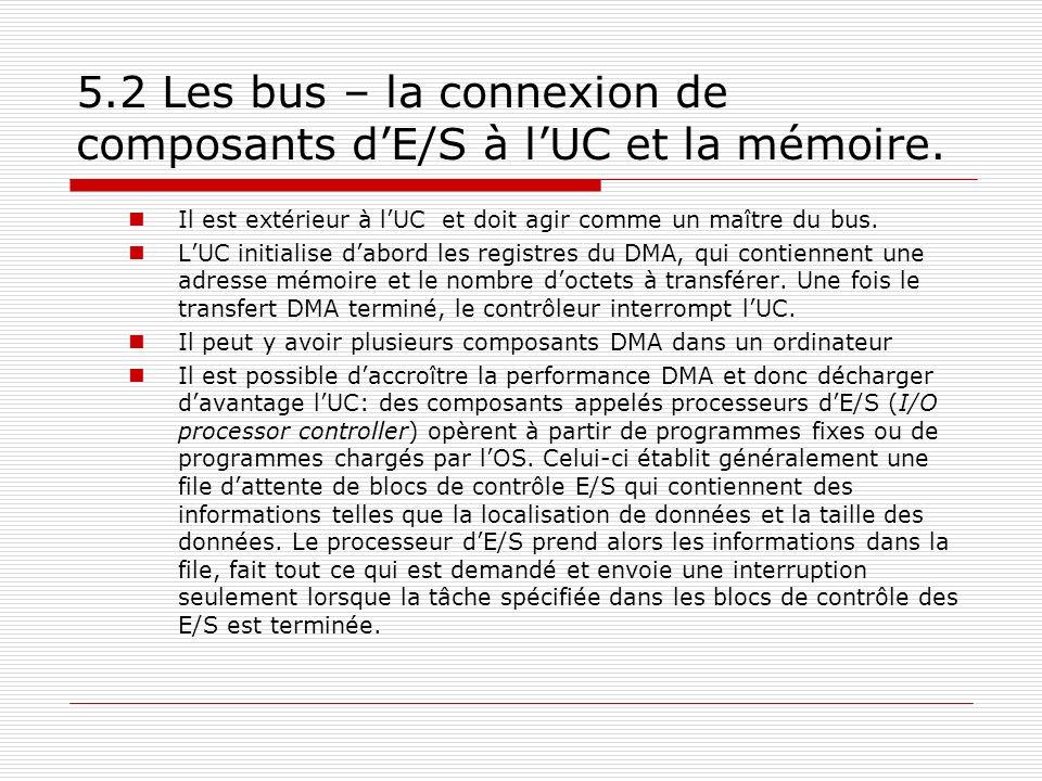 5.2 Les bus – la connexion de composants dE/S à lUC et la mémoire. Il est extérieur à lUC et doit agir comme un maître du bus. LUC initialise dabord l