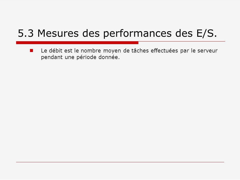 5.3 Mesures des performances des E/S. Le débit est le nombre moyen de tâches effectuées par le serveur pendant une période donnée.