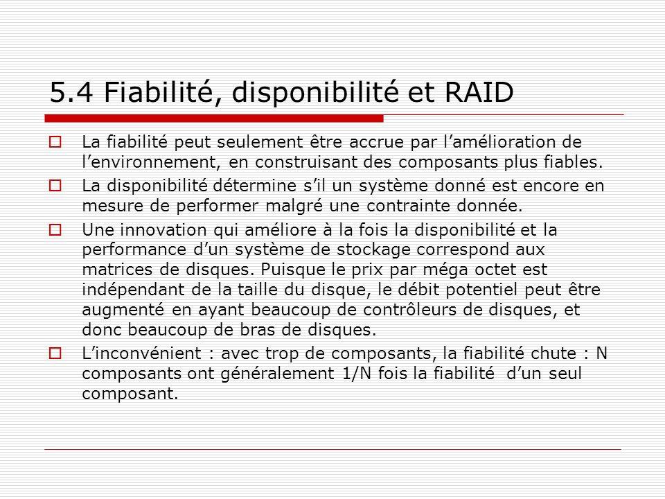 5.4 Fiabilité, disponibilité et RAID La fiabilité peut seulement être accrue par lamélioration de lenvironnement, en construisant des composants plus