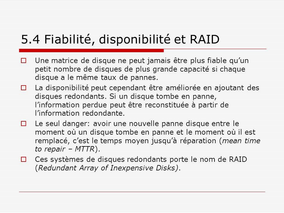 5.4 Fiabilité, disponibilité et RAID Une matrice de disque ne peut jamais être plus fiable quun petit nombre de disques de plus grande capacité si cha