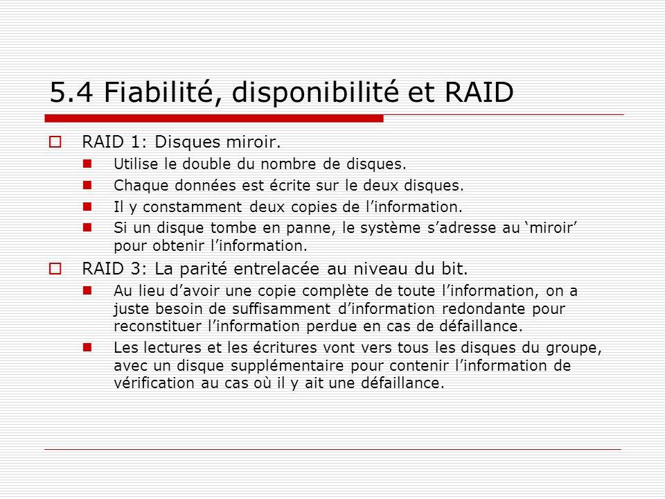 5.4 Fiabilité, disponibilité et RAID RAID 1: Disques miroir. Utilise le double du nombre de disques. Chaque données est écrite sur le deux disques. Il