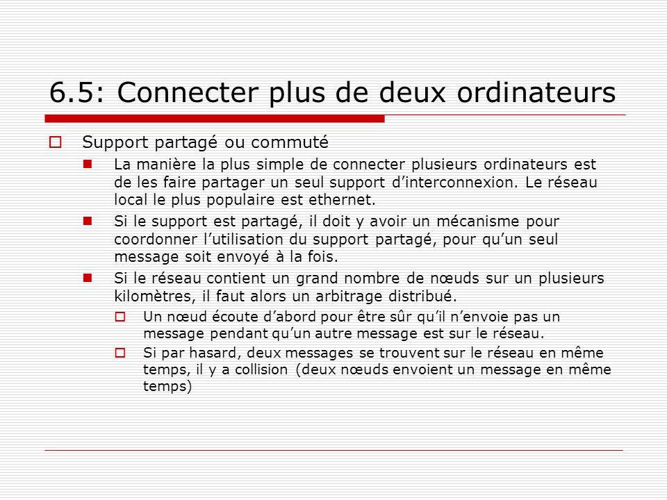 6.5: Connecter plus de deux ordinateurs Support partagé ou commuté La manière la plus simple de connecter plusieurs ordinateurs est de les faire parta