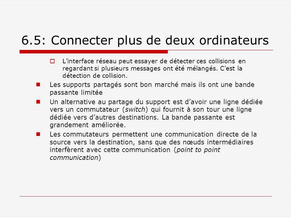 6.5: Connecter plus de deux ordinateurs Linterface réseau peut essayer de détecter ces collisions en regardant si plusieurs messages ont été mélangés.