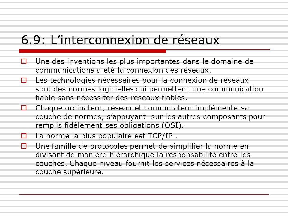 6.9: Linterconnexion de réseaux Une des inventions les plus importantes dans le domaine de communications a été la connexion des réseaux. Les technolo
