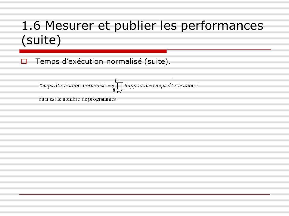 1.6 Mesurer et publier les performances (suite) Temps dexécution normalisé (suite).
