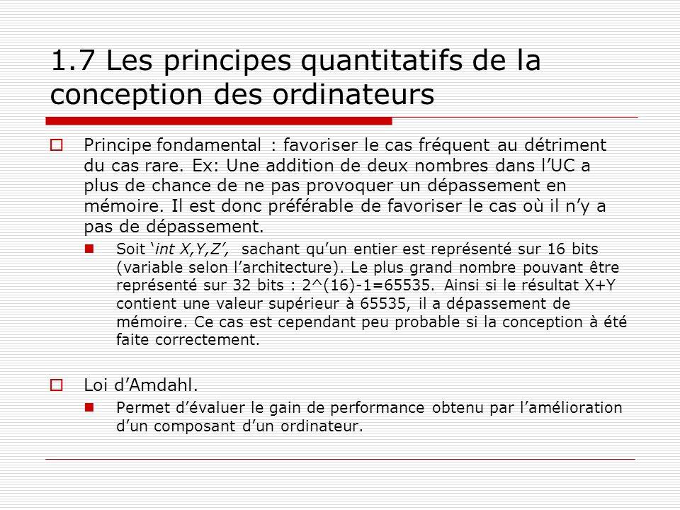 1.7 Les principes quantitatifs de la conception des ordinateurs Principe fondamental : favoriser le cas fréquent au détriment du cas rare. Ex: Une add