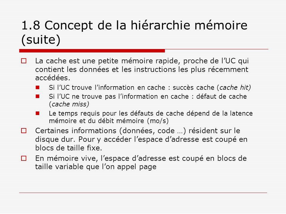 1.8 Concept de la hiérarchie mémoire (suite) La cache est une petite mémoire rapide, proche de lUC qui contient les données et les instructions les pl