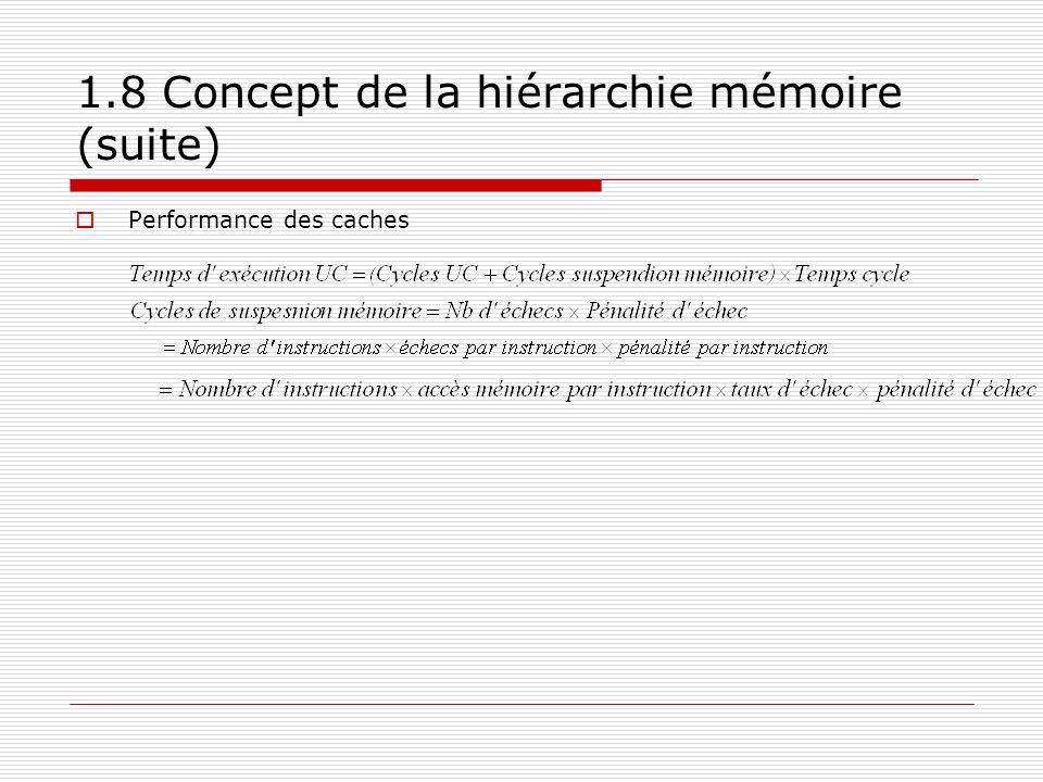 1.8 Concept de la hiérarchie mémoire (suite) Performance des caches