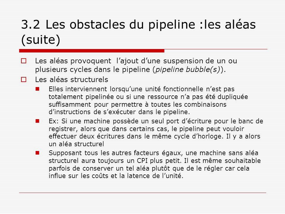 3.2 Les obstacles du pipeline :les aléas (suite) Les aléas provoquent lajout dune suspension de un ou plusieurs cycles dans le pipeline (pipeline bubb