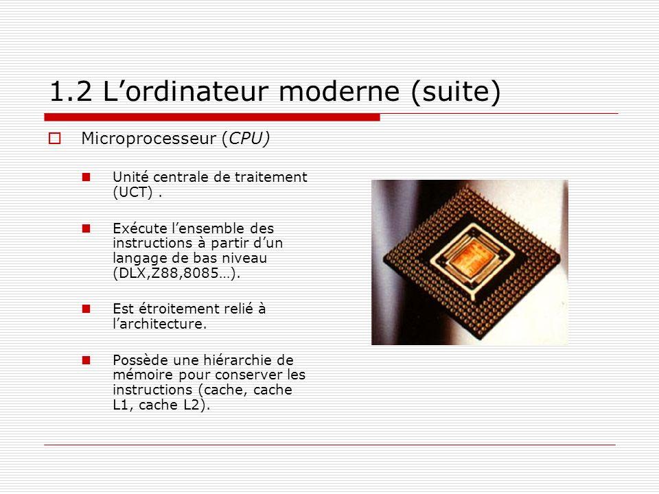 1.2 Lordinateur moderne (suite) Microprocesseur (CPU) Unité centrale de traitement (UCT). Exécute lensemble des instructions à partir dun langage de b