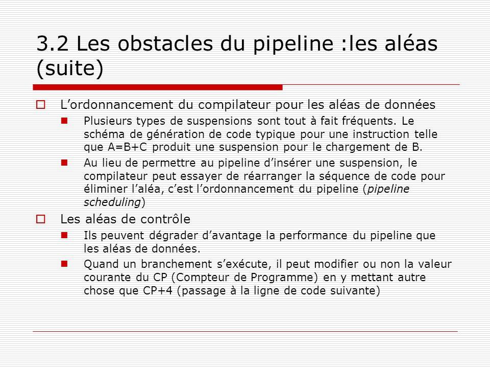 Lordonnancement du compilateur pour les aléas de données Plusieurs types de suspensions sont tout à fait fréquents. Le schéma de génération de code ty