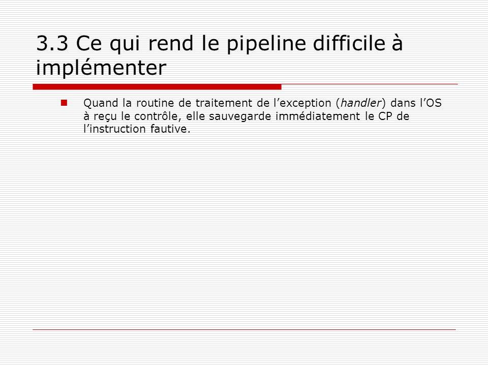 3.3 Ce qui rend le pipeline difficile à implémenter Quand la routine de traitement de lexception (handler) dans lOS à reçu le contrôle, elle sauvegard