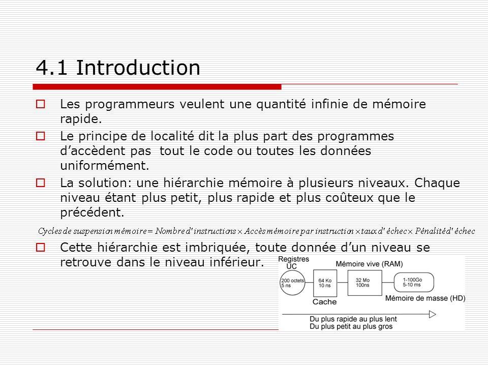 4.1 Introduction Les programmeurs veulent une quantité infinie de mémoire rapide. Le principe de localité dit la plus part des programmes daccèdent pa