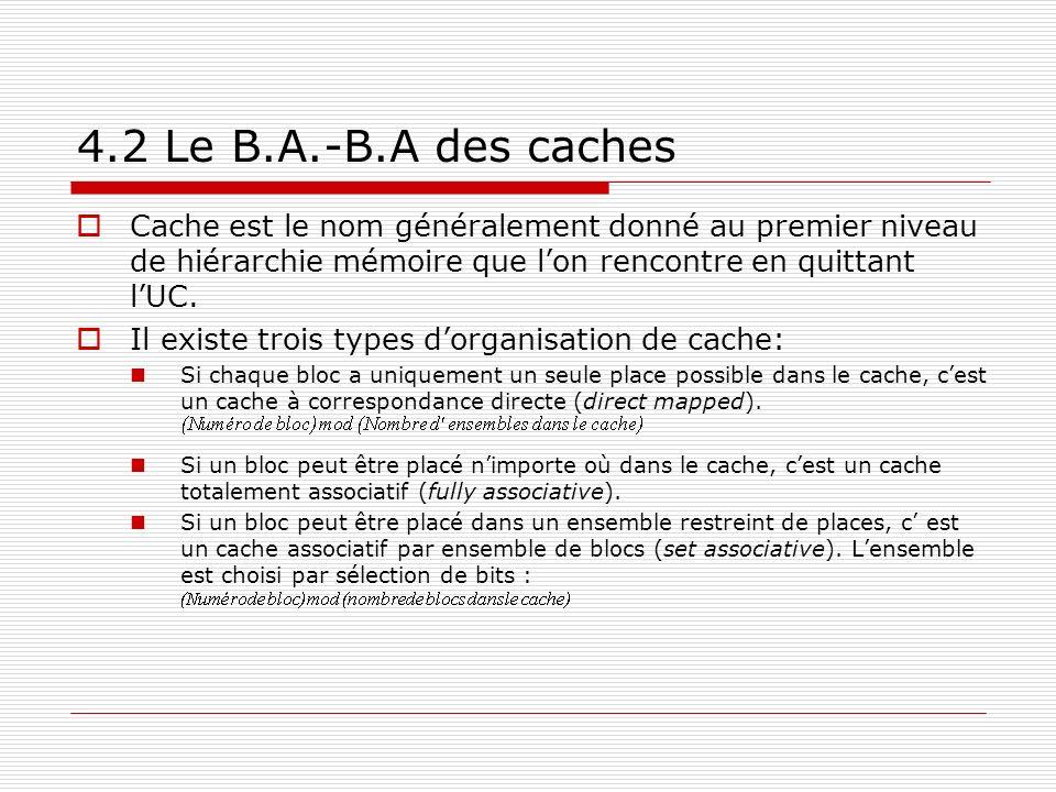 4.2 Le B.A.-B.A des caches Cache est le nom généralement donné au premier niveau de hiérarchie mémoire que lon rencontre en quittant lUC. Il existe tr