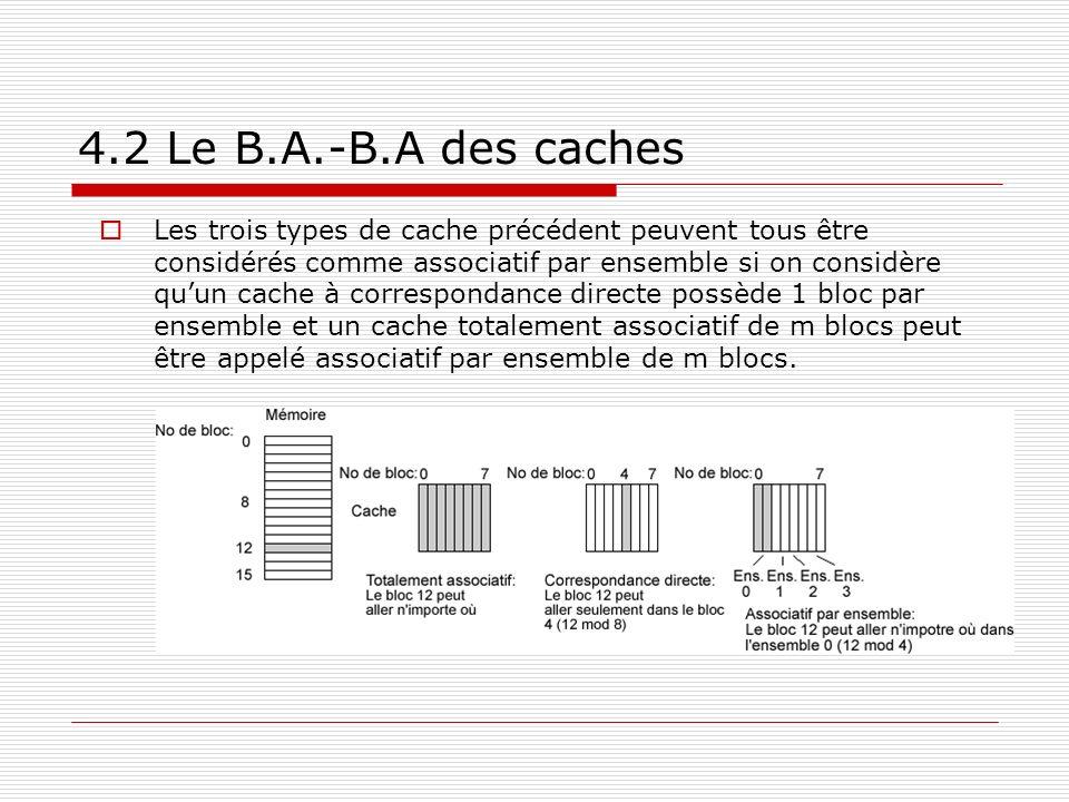4.2 Le B.A.-B.A des caches Les trois types de cache précédent peuvent tous être considérés comme associatif par ensemble si on considère quun cache à