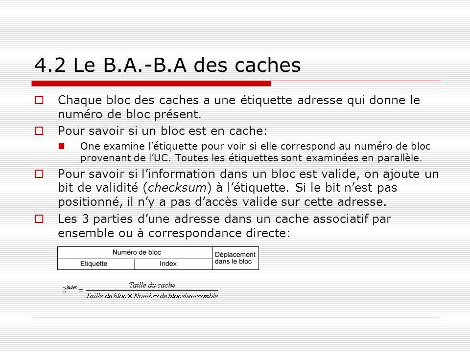 4.2 Le B.A.-B.A des caches Chaque bloc des caches a une étiquette adresse qui donne le numéro de bloc présent. Pour savoir si un bloc est en cache: On